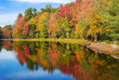 Colorful foliage reflections in pond water on a sunny autumn day in New England