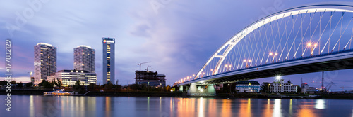 Apollo bridge over river Danube and highrise buildings Poster