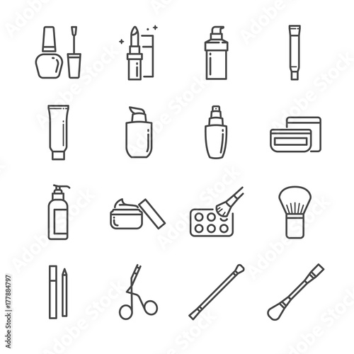 Make-up and cosmetic line icon set 2. Included the icons as beauty, woman face, lipstick, eyeshadow, eye liner foundation, tools and more. - 177884797