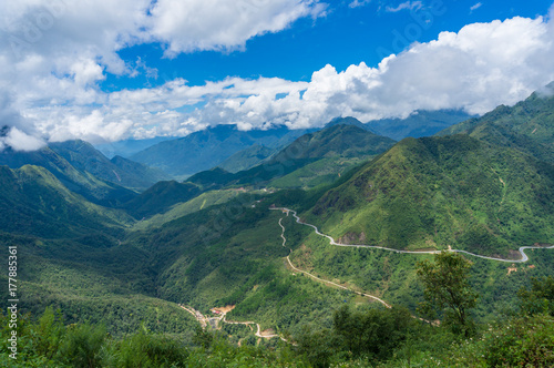 Fotobehang Groen blauw Aerial panorama view od mountains and valley