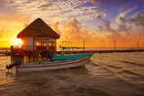 Holbox Island pier hut sunset beach in Mexico - 177886182