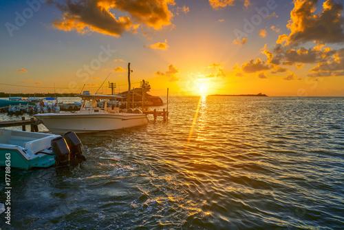 Foto op Aluminium Oude gebouw Holbox island port sunset in Quintana Roo