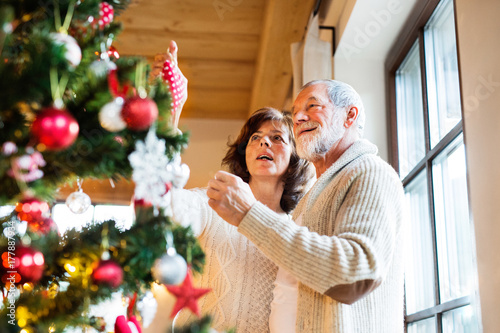 Senior couple decorating Christmas tree at home. Poster