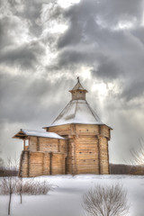 Museum of Wooden Architecture, Kolomenskoye. Snowfall