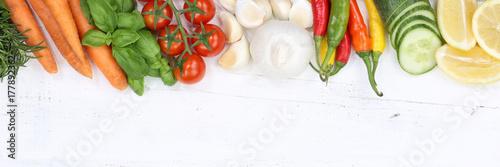 Poster Gemüse Sammlung Tomaten Karotten kochen Zutaten Textfreiraum Banner von oben