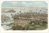Old aerial view of Boston, Massachusetts.  Created by J.C.W. Aarland, publ. Germany (?) - 177892717