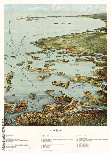 Old aerial view of Boston harbor and south shore, Massachusetts. Created and published by John Murphy, 1901 - 177892732
