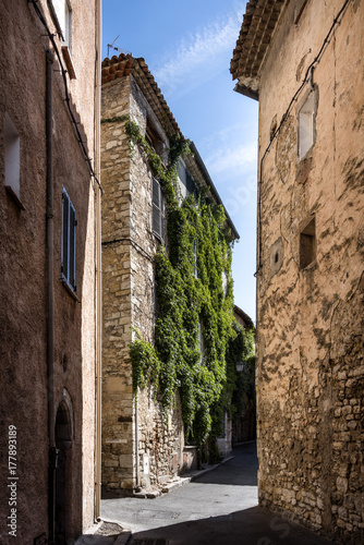 France, Provence, French Riviera, Draguignan, Lorgues: Empty narrow alleys and old medieval houses partly covered with ivy in the city center Poster
