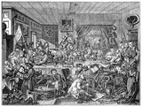 Old humorous illustration of a tavern dinner organised by candidate (Humours of an Election series). People are seated around a table and drink. Created by Hogarth, published on Penny Magazine, Lond - 177893992