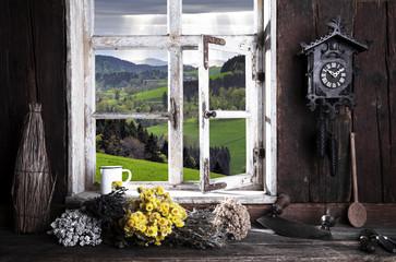 Bauernstube mit Blick durch das Fenster