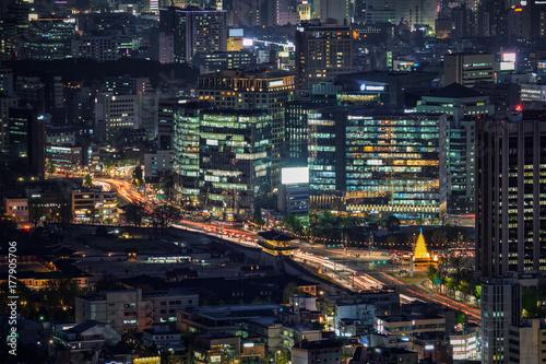 Fotobehang Seoel Seoul skyscrapers in the night, South Korea.