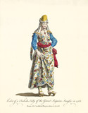 Turkish Lady in traditional dresses in 1568. Long tunic, floral decorated, cap, headscarf, necklace and sandals. Old watercolor illustration By J.M. Vien, T. Jefferys, London, 1757-1772 - 177907355