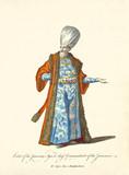 Janissary Agha in traditional dresses. elegant orange coat, blue tunic, big turban, white beard. Old watercolor illustration By J.M. Vien, T. Jefferys, London, 1757-1772 - 177907514