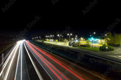Fotobehang Nacht snelweg highway landing at nigt, Vychodna, Slovkia