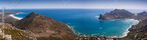 Panoramic view of Hout Bay in Cape Town, South Africa from the top of a mountain