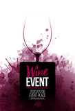 Template for promotions or presentations of wine events.  Background texture of wine stains.