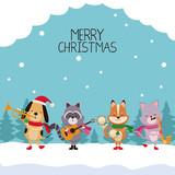 Merry chrismtas card cartoon icon vector illustration graphic design - 177922570