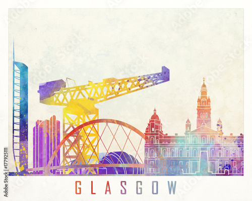 Glasgow landmarks watercolor poster