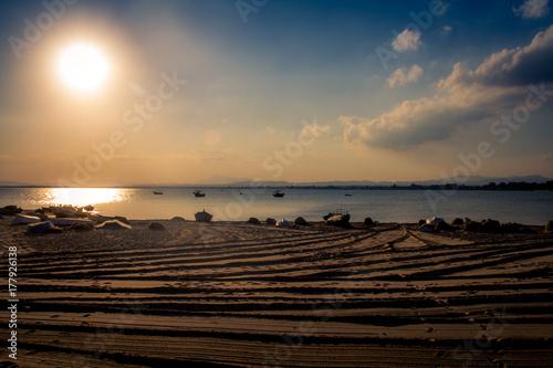 Fotobehang Zee zonsondergang coucher de soleil