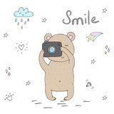 vector card with cute hand drawn bear and camera. vector print
