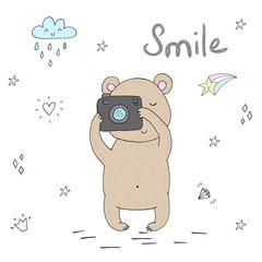 vector card with cute hand drawn bear and camera. vector print
