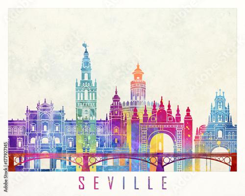 Seville landmarks watercolor poster