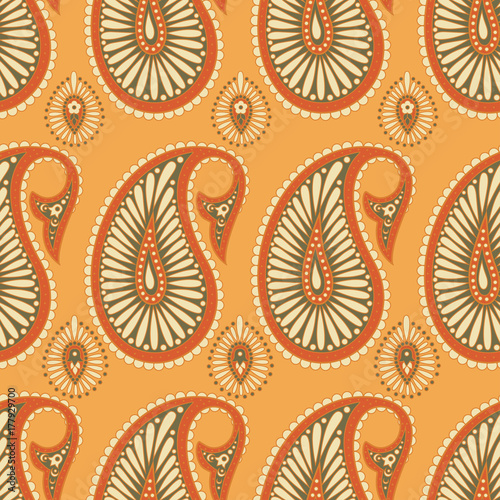 Cotton fabric Paisley Floral oriental ethnic Pattern.