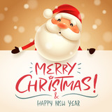 Santa Claus with big signboard. Merry Christmas calligraphy lettering design. Creative typography for holiday greeting. - 177931349
