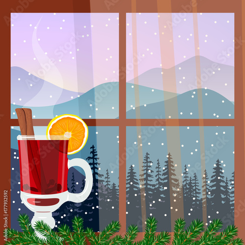 Aluminium Purper Christmas decorated window with hot mulled wine. Winter landscape with silhouettes of mountains and forest. Vector illustration