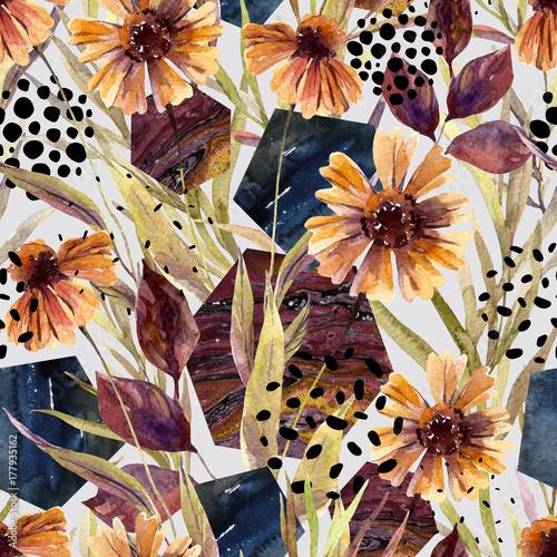 Autumn watercolor floral arrangement, seamless pattern. - 177935162