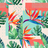 Abstract tropical summer design in minimal style. - 177935517