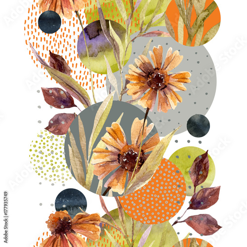 Abstract floral and geometric seamless pattern. - 177935749