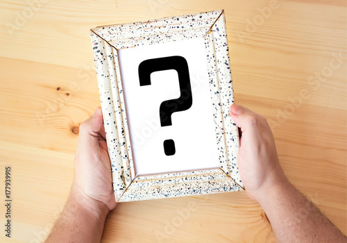 Question mark sign in picture frame Poster