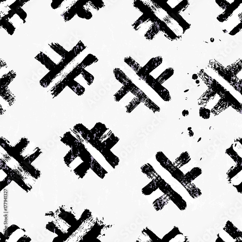 Fotobehang Abstract met Penseelstreken seamless abstract background pattern, with brush strokes and splashes, black and white