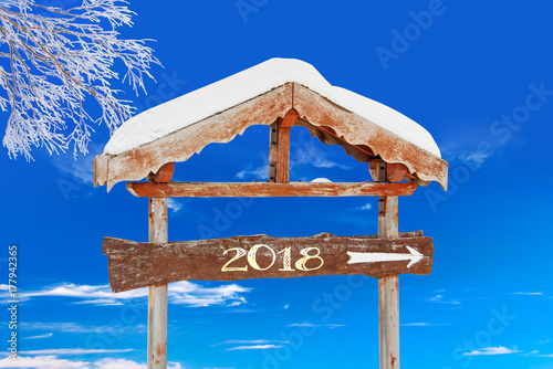2018 written on a wooden direction sign, blue sky and frozen tree background