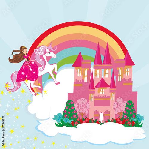 Foto op Aluminium Kasteel Girl on a unicorn flying on a rainbow