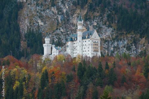 Schloss Neuschwanstein im Herbst Poster