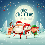 Merry Christmas! Happy Christmas companions in the moonlight. Santa Claus, Snowman, Reindeer and elf in Christmas snow scene.  - 177943979