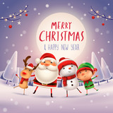 Merry Christmas! Happy Christmas companions in the moonlight. Santa Claus, Snowman, Reindeer and elf in Christmas snow scene.  - 177943984