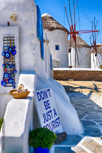 Fototapeta Mykonos, Greece. Don't be just a tourist