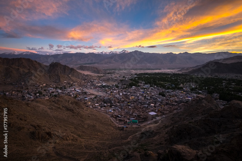 Fotobehang Chocoladebruin Landscape of Leh city and mountain around from Leh Monastery Leh district, Ladakh, in the north Indian state of Jammu and Kashmir.