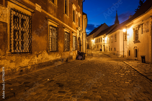 Bratislava Old Town Street at Night in Slovakia Poster