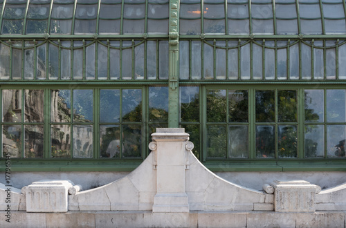 Reflections in the windows of the butterfly house in the Burggarten, Vienna, Aus Poster