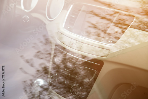 center console in the car. Dashboard close up плакат