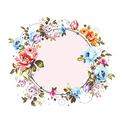 Circle background with shabby vintage flowers