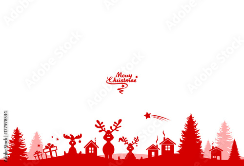 Weihnachten Landschaft Elche - 177978534