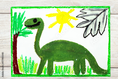 Photo of colorful drawing: Smiling dinosaur. Big green diplodocus Poster