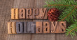 Happy Holidays Text on a Rustic Wooden Background