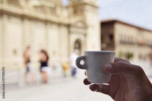 man having a coffee in Zaragoza, Spain