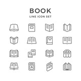 Set line icons of book - 177987346
